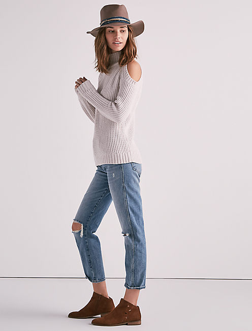 Cold Shoulder Chenille Sweater, IVORY