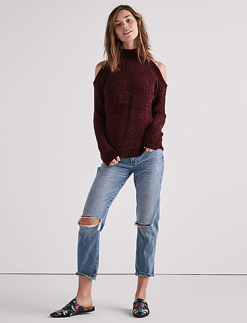 Cold Shoulder Chenille Sweater, MERLOT