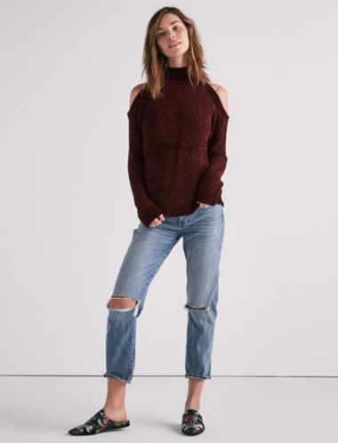 Lucky Cold Shoulder Chenille Sweater