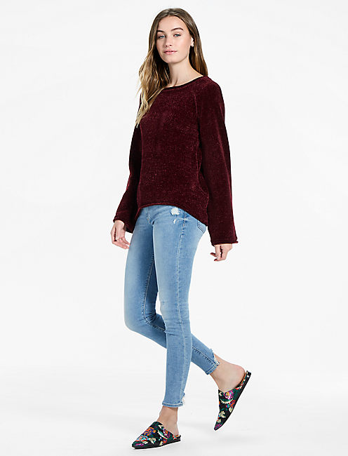 Long Sleeve Chenille Sweater, MERLOT