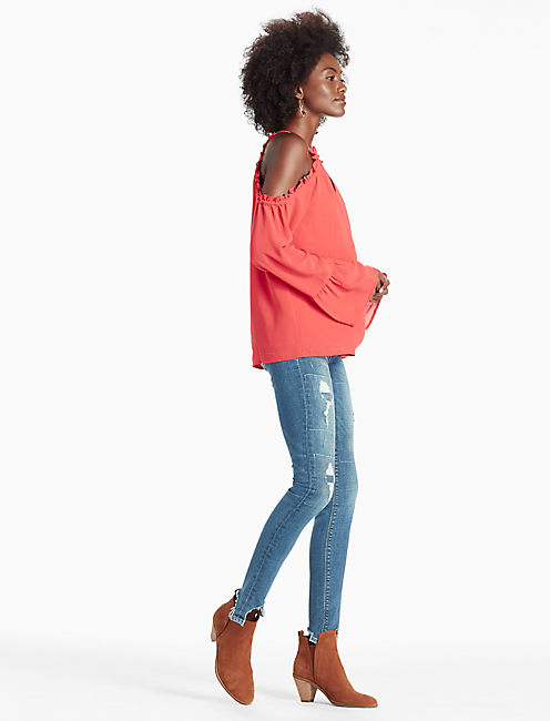 COLD SHOULDER TOP, CORAL