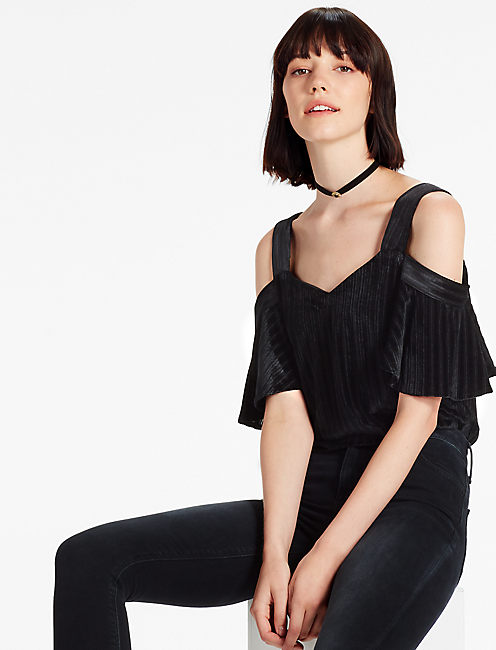 VELVET COLD SHOULDER TOP, 001 LUCKY BLACK