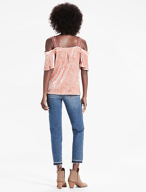 VELVET COLD SHOULDER TOP, BLUSH