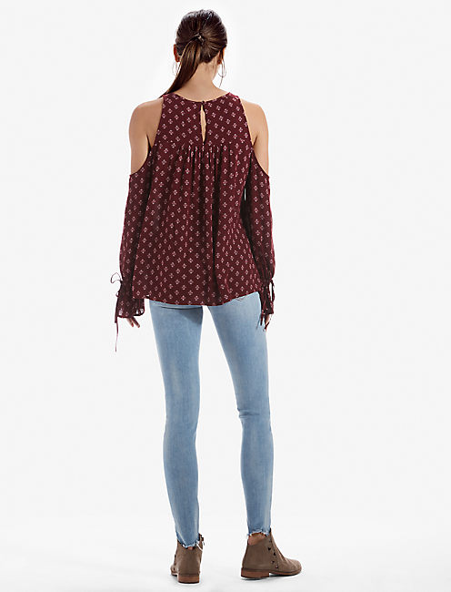 COLD SHOULDER PRINTED TOP,