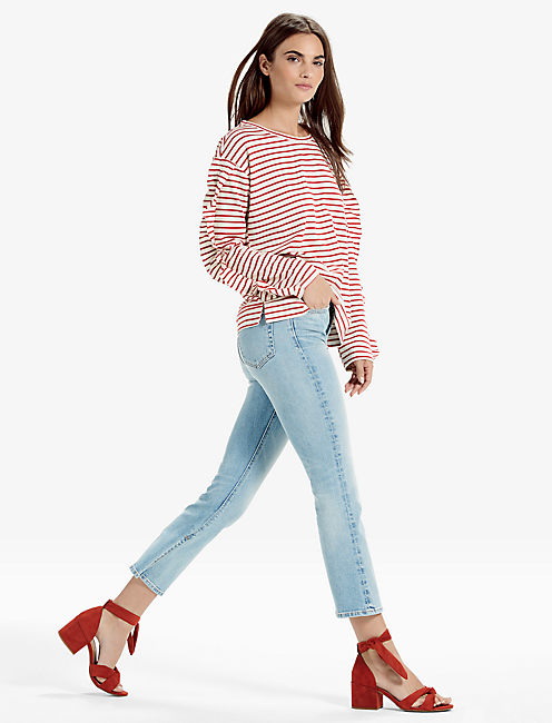 Lucky Striped Ruffle Sleeve Top