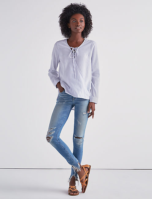 Lucky Lace Up Wrap Front Top
