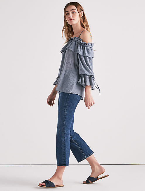 Lucky Cold Shoulder Chambray Top