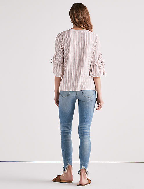 LACE-UP BELL SLEEVE TOP,