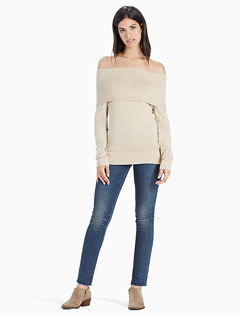 Lucky Off The Shoulder Fold Over Sweater