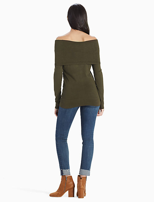 OFF THE SHOULDER FOLD OVER SWEATER, DARK OLIVE