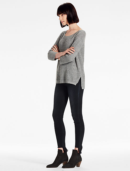 SCOOP NECK SIDE SLIT SWEATER, HEATHER GREY