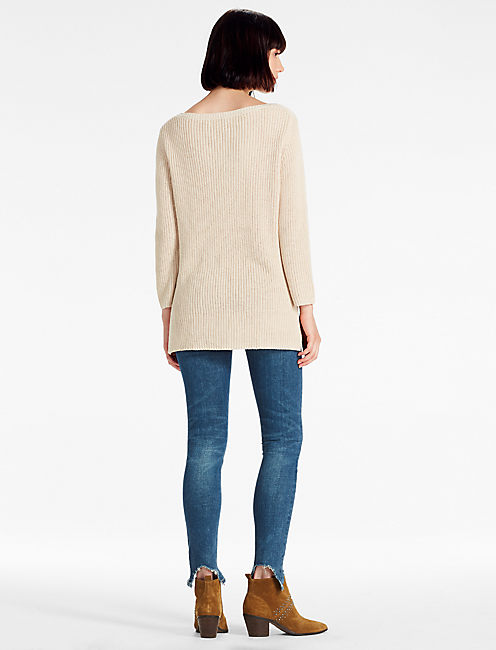 SCOOP NECK SIDE SLIT SWEATER, #130 NATURAL