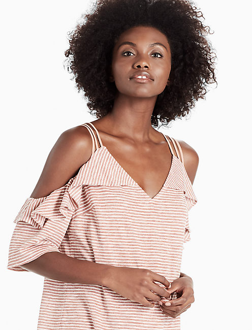 COLD SHOULDER STRIPE TOP, PINK MULTI