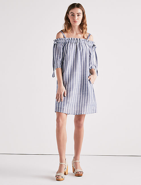 Lucky Stripe Cold Shoulder Dress