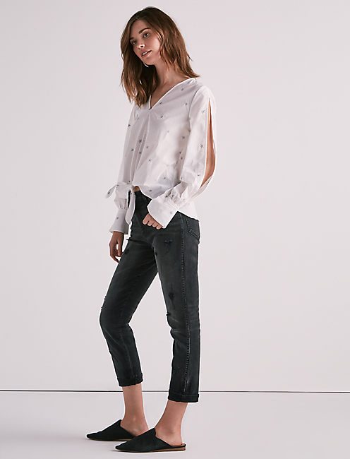 COLD SHOULDER EMBROIDERED POPLIN,