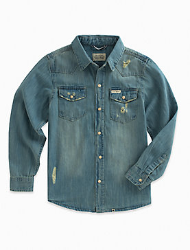 LONG SLEEVE LIGHT DENIM SHIRT