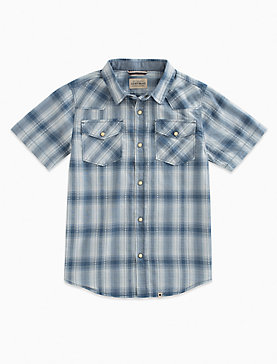 SHORT SLEEVE WESTERN PLAID SHIRT