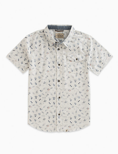 SHORT SLEEVE SKETCHY MOTO PRINT SHIRT,