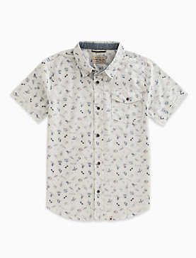 SHORT SLEEVE SKETCHY MOTO PRINT SHIRT
