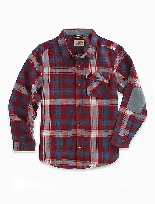 LONG SLEEVE TWILL PLAID SHIRT WITH SNOW WASH,