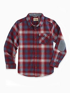 LONG SLEEVE TWILL PLAID SHIRT WITH SNOW WASH