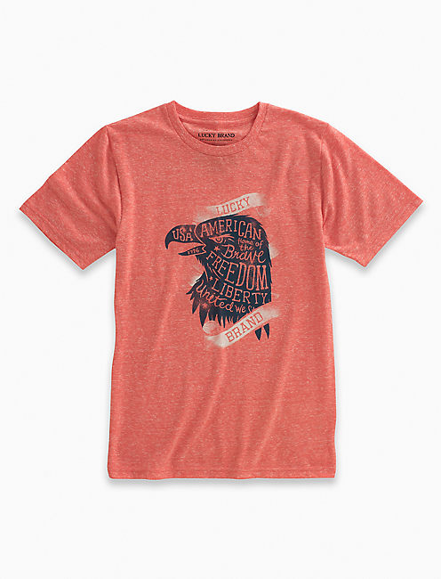 SHORT SLEEVE USA EAGLE TEE, MEDIUM DARK RED