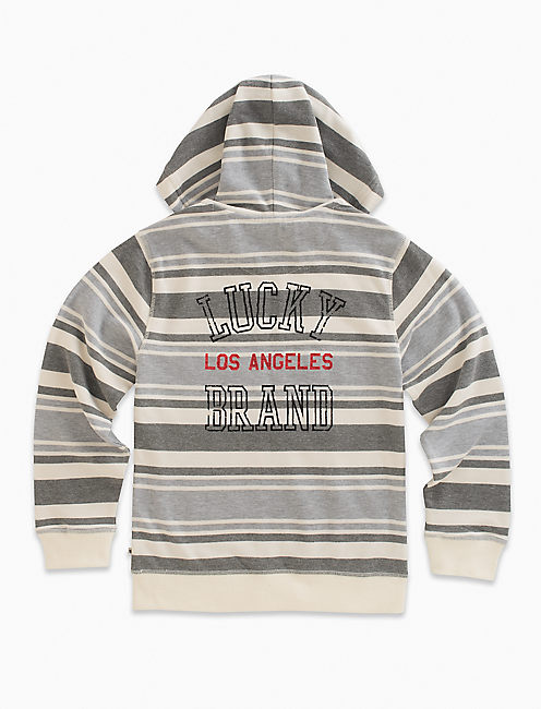 LONG SLEEVE STRIPE FRENCH TERRY FULL ZIP HOODY,