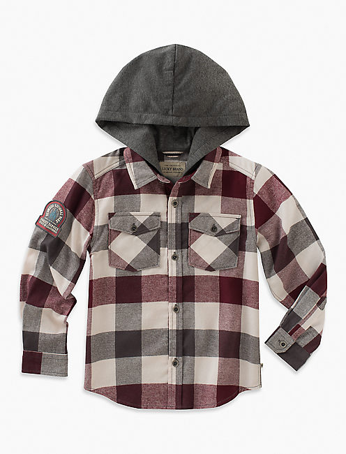 LONG SLEEVE PLAID SHIRT WITH JERSEY HOOD, DARK RED