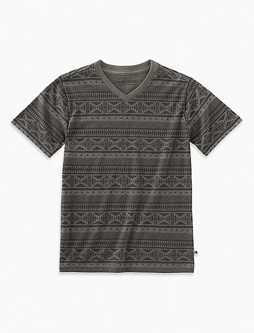 V-NECK PRINT TEE, MEDIUM GREY