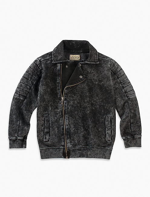 MOTORCYCLE JACKET, DARK GREY