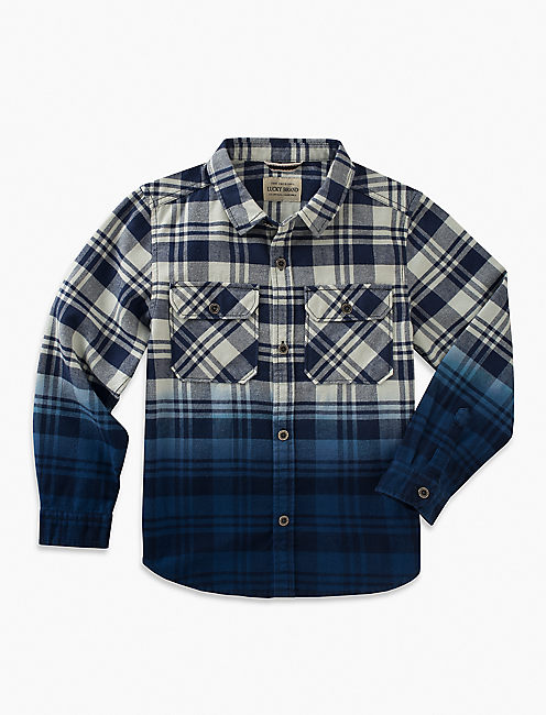 LONG SLEEVE PLAID DIP DYE WOVEN,