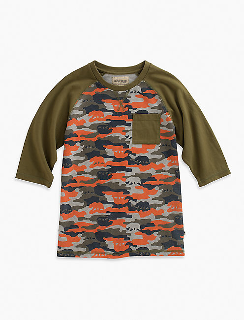 CAMO BEAR BASEBALL TEE, DARK GREEN