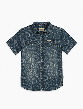 IKAT PRINT CHAMBRAY SHIRT
