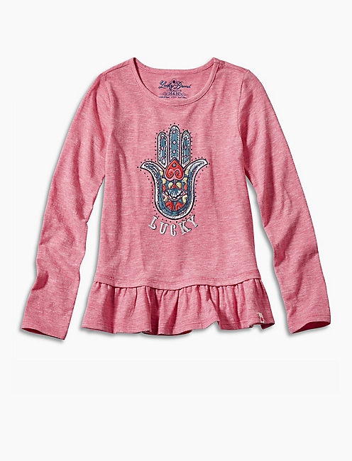 HAMSA TEE W BOTTOM RUFFLE, LIGHT PURPLE