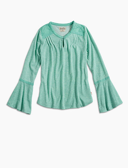 BELL SLEEVE PEASANT TOP, TURQUOISE/AQUA