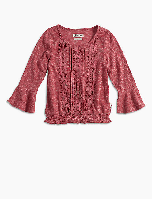 BELL SLEEVE PEASANT TOP W, DARK PINK