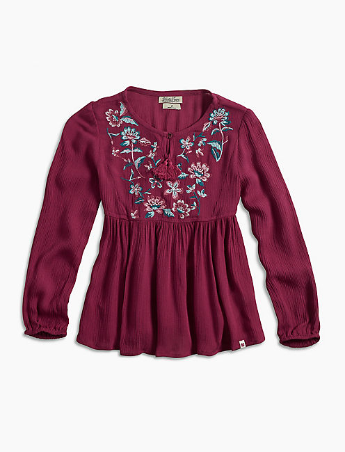 PEASANT TOP W/ FLORAL EMB, BRIGHT RED
