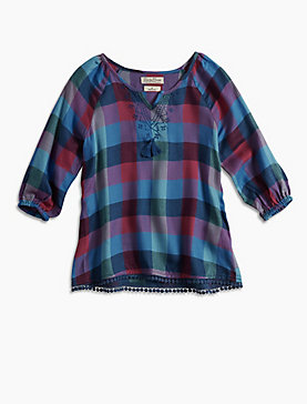 PLAID BLOUSE W/ POM TRIM