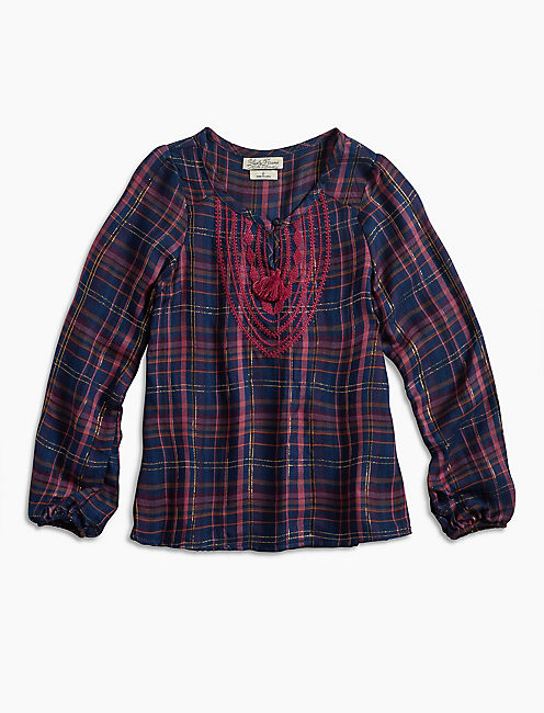 LUREX PLAID TOP W/ EMBRO, BRIGHT RED