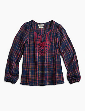 LUREX PLAID TOP W/ EMBRO
