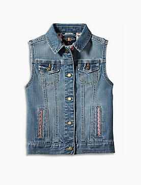 DENIM VEST W/ EMBROIDERY