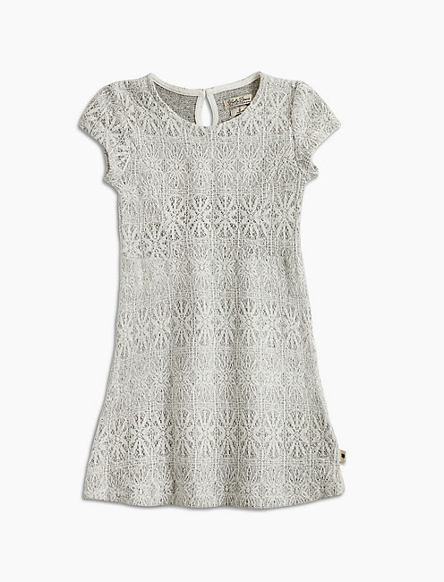 BONDED LACE DRESS, OPEN WHITE/NATURAL