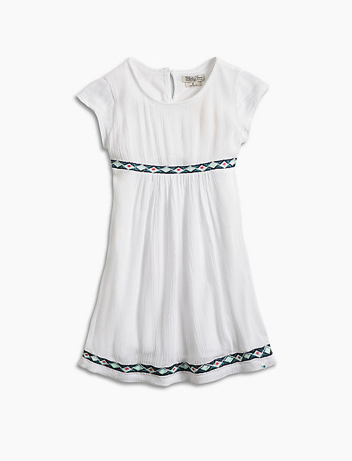 DRESS W/ EMBROIDERED TAPE, NATURAL