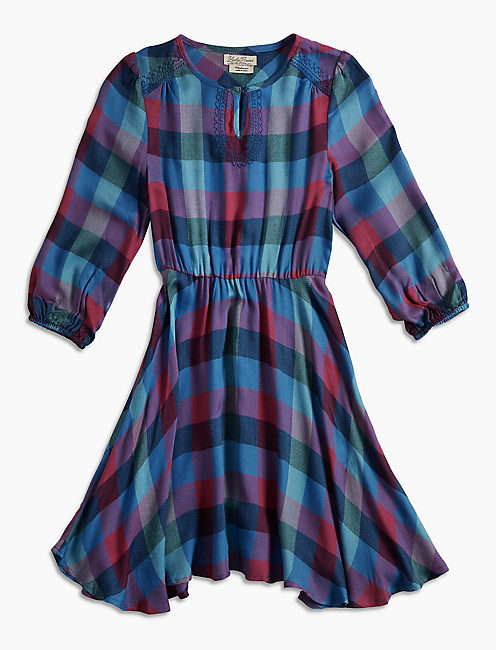 PLAID DRESS, MEDIUM PURPLE