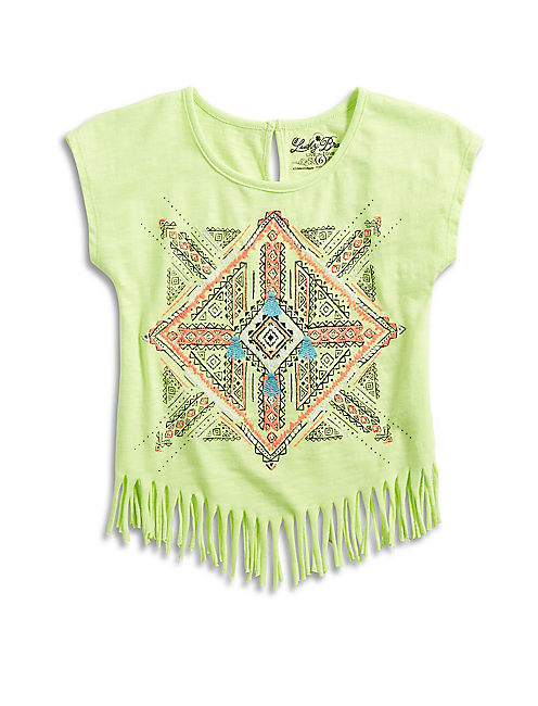 AZTEC MANDALA FRINGE TEE, MEDIUM YELLOW