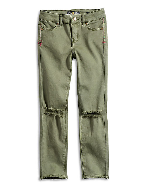 ZOE TORN KNEE JEAN, OPEN GREEN