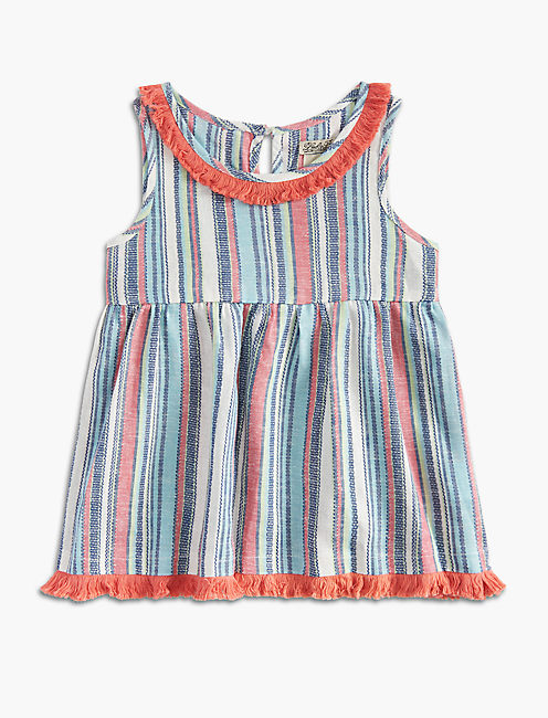 STRIPE TOP WITH FRINGE, OPEN WHITE/NATURAL