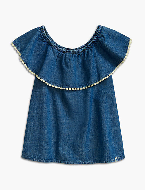 PEASANT TOP W/ POM POM TR, MEDIUM BLUE