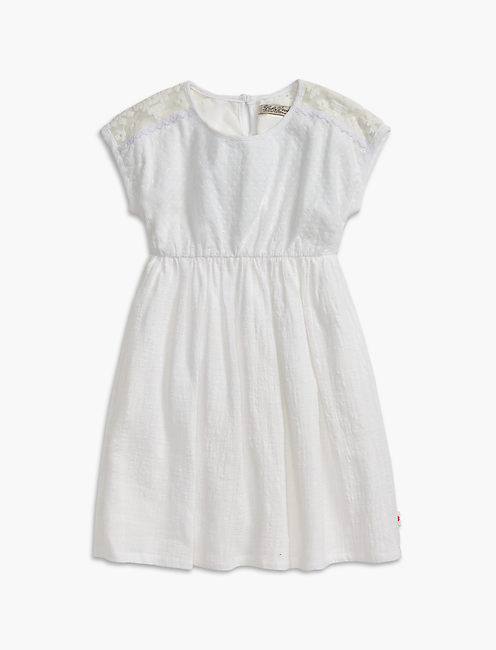 MESH LACE & EYELET DRESS, OPEN WHITE/NATURAL