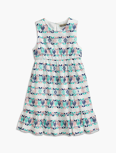 PRINTED DRESS W/ RUFFLE, OPEN WHITE/NATURAL